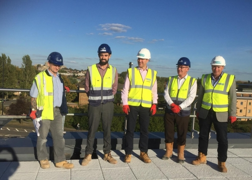 Management Team on the Roof - only a few weeks to opening!