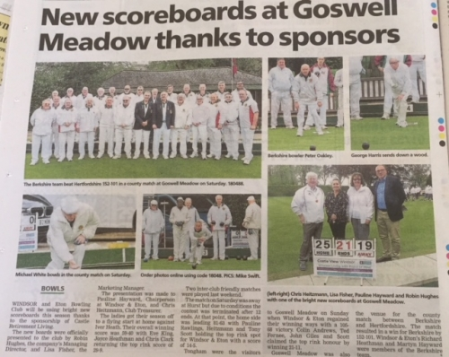 Castle View provides bright new scoreboard for Windsor and Eton Bowling Club