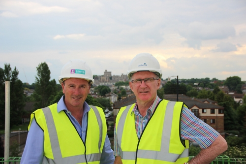 Robin Hughes and Retirement Village legend Kevin Hickman inspect progress and the Castle VIews